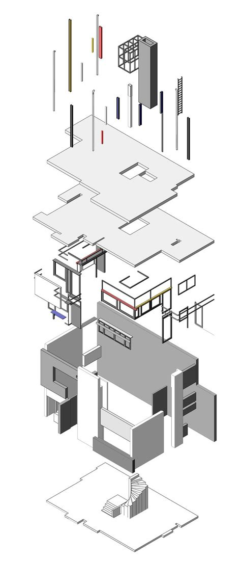 rietveld schrã der house plan rietveld schroder house exploded rietveld pinterest house and photos