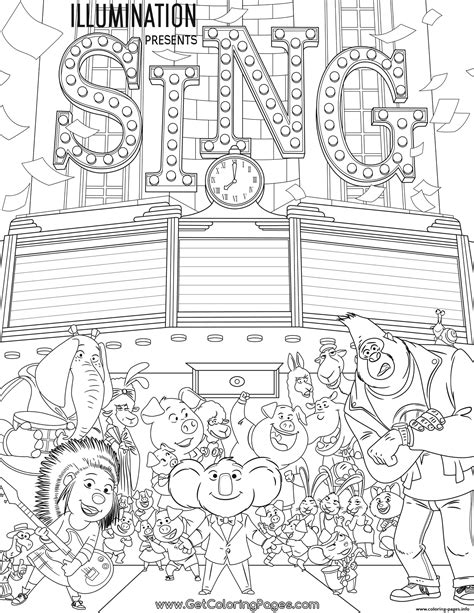 Printable Coloring Pages For Cing | movie sing coloring pages printable