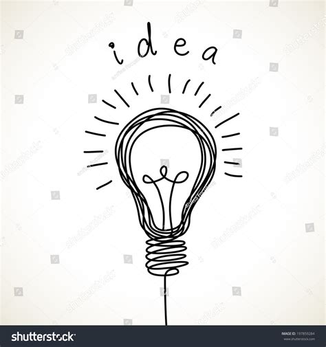doodle of light vector light bulb icon concept idea stock vector 197859284