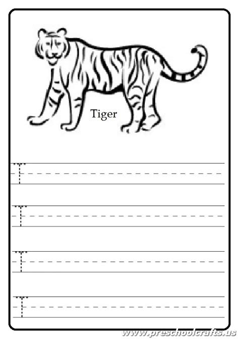 tiger t coloring page uppercase letter t worksheet tiger coloring page