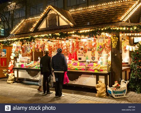 christmas market stall in bristol city centre uk stock