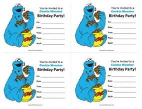 cookie monster birthday invitations free printable