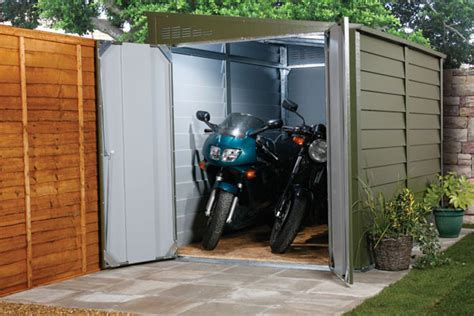Motorbike Metal Shed by Motorbike Sheds And Secure Motorcycle Garages For Home Storage