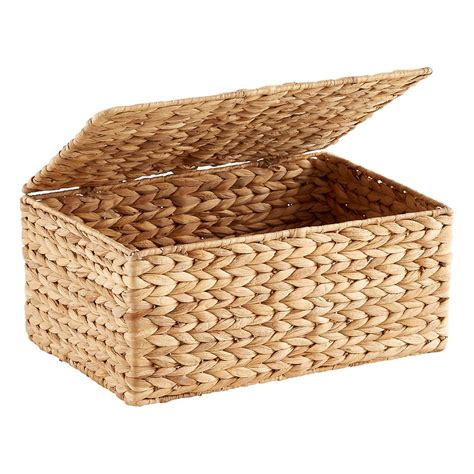 water with lid small water hyacinth storage box with hinged lid the