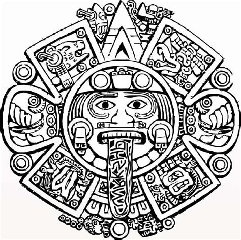 1000 Ideas About Aztec Calendar On Pinterest Aztec Aztec Calendar Coloring Page