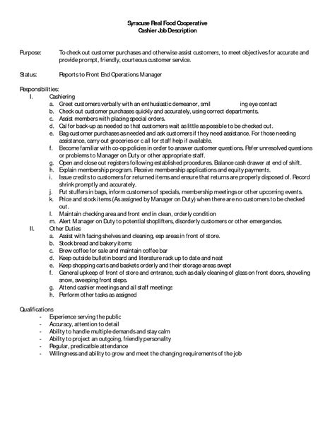 Cashier Responsibilities Resume by 12 Cashier Description For Resume Recentresumes
