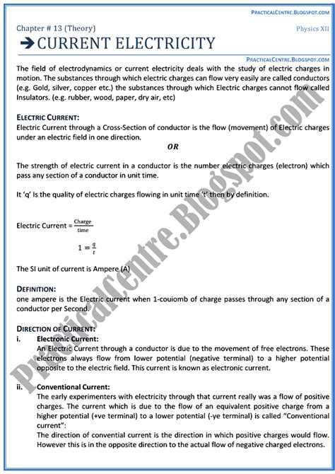 Practical Centre Current Electricity Theory Notes