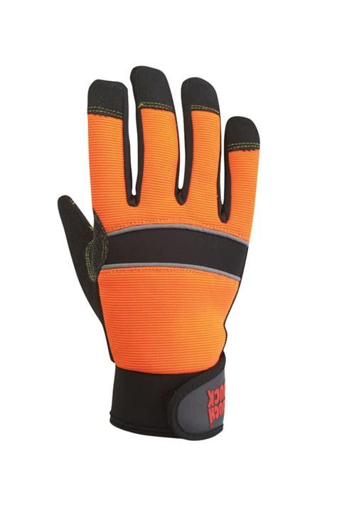 tough duck hi vis glove with grip palm orange black large