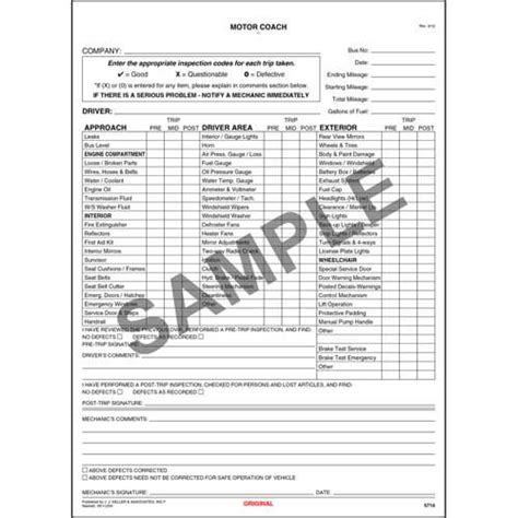 vehicle inspection report book new york motor coach driver s vehicle inspection report