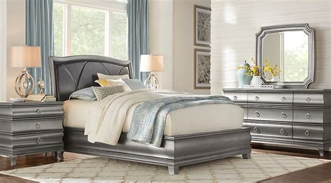 silver bedroom furniture sets alexi silver 5 pc king panel bedroom with chocolate inset 17062 | br rm alexi silver~Alexi Silver 5 Pc King Panel Bedroom with Chocolate Inset