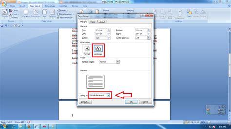 landscape layout microsoft word 2007 cara mengatur page layout kertas menjadi portrait dan
