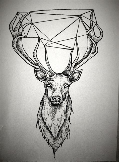 stag tattoos geometric stag black white tattoos