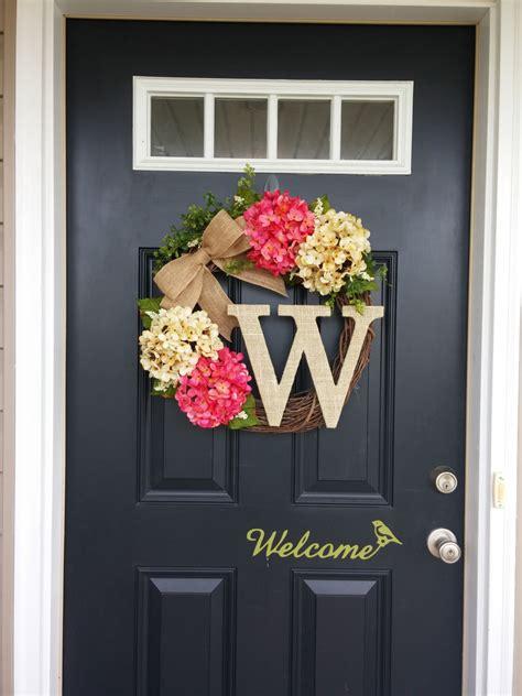 home door decoration summer wreath monogram wreath hydrangea wreath front door