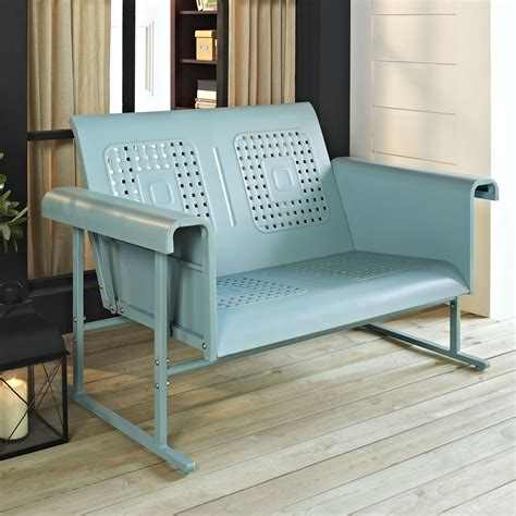 metal glider sofa crosley veranda 52 in metal loveseat glider outdoor