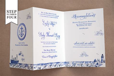 diy tutorial sted nautical tri fold wedding invitation suite