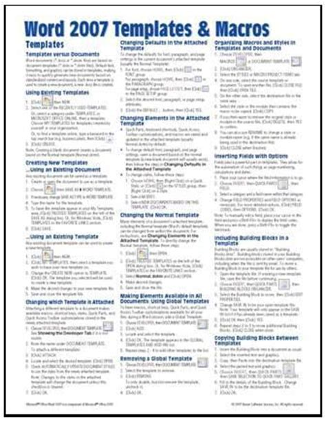 microsoft word 2007 quick reference card cheat sheet beezix