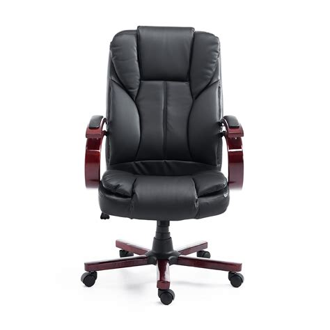 black leather and wood office chairs homcom pu leather high back executive office chair with