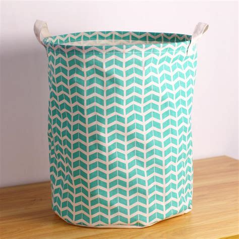 2018 Hot Sale Green Wave Fabric Laundry Basket With Two Fabric Laundry