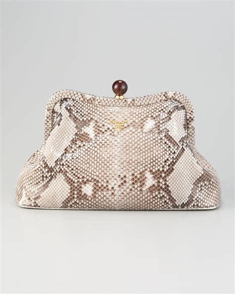 Prada Pitone Clutch by Prada Pitone Lucido Python Clutch In Gray Lyst