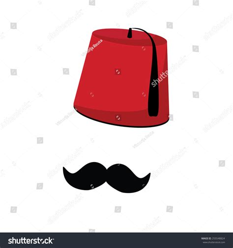 ottoman mustache red turkish hat fez and black mustache vector isolated