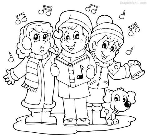 villancicos para ni241os dibujo navide 241 o para colorear de ni 241 os cantando villancicos etapa infantil