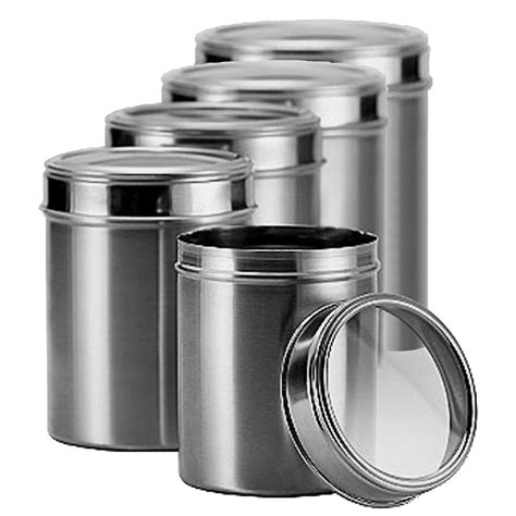 stainless steel kitchen canister matbah stainless steel 5 canister set with clear lid