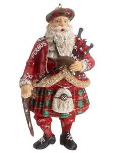 scottish santa with bagpipes personalized ornament