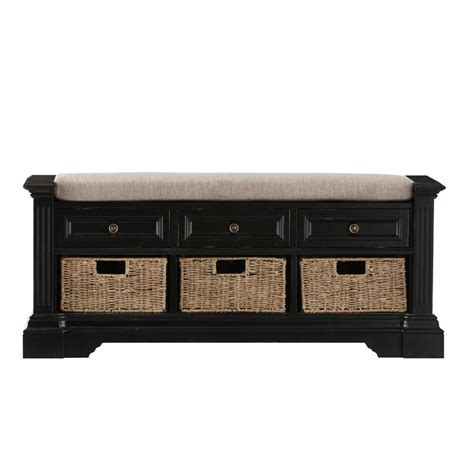 Home Decorators Bench by Home Decorators Collection Bufford Antique Black Storage Bench 9635800200 The Home Depot