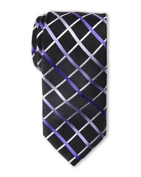 cardin grid print tie and solid pocket square set