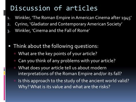 gladiator film and history winkler the fall of the roman empire on film