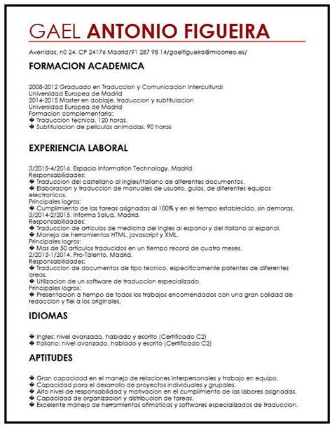 Modelo Curriculum Vitae Para Universidad modelo de cv para estudiantes internacionales muestra