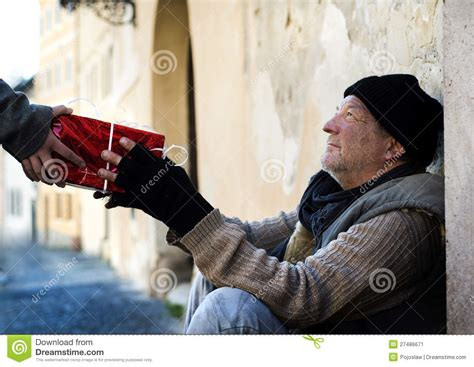 christmas gift for homeless man stock image image 27486671