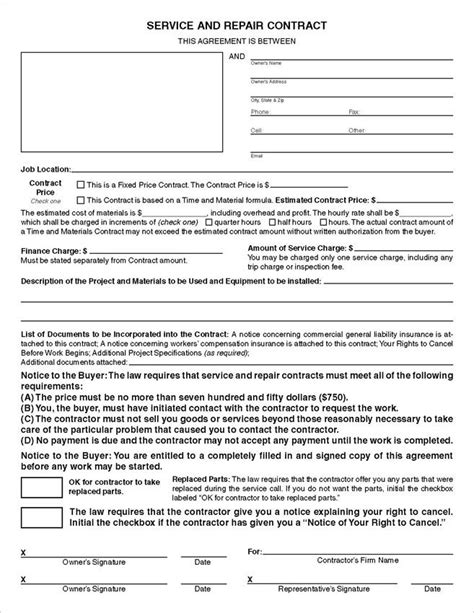 california service repair contracts