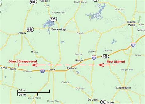 breckenridge texas map unknown object seen near breckenridge texas ufo casebook files