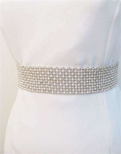 bridal pearl beaded sash wedding rhinestone by