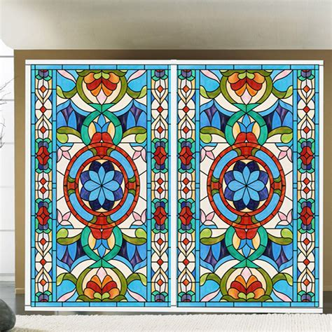 Stained Glass Sticker Scrub Balcony Bedroom Wardrobe Stained Glass Stickers For Doors