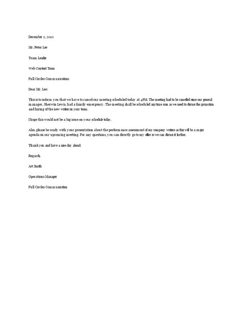 Free Cancellation Letter for team meeting | Templates at
