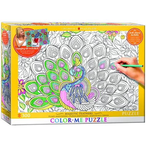 puzzle with every color majestic feathers coloring puzzle puzzlewarehouse com