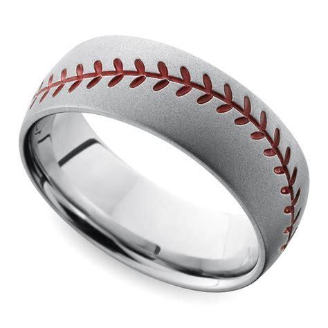 Beadblasted Baseball Pattern Men's Wedding Ring in Cobalt