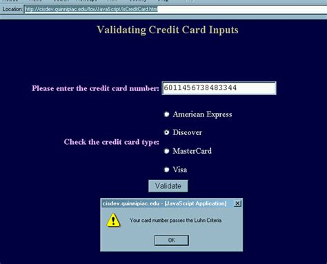 Credit Card Form Validation Script valid creditcard numbers petal