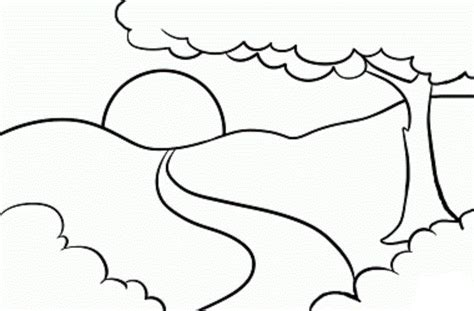 Coloring Page Landscape by Mountain Landscapes Coloring Pages