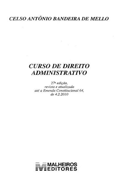 (PDF) Celso Antônio Bandeira de Mello - Curso de Direito