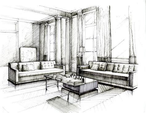 sketch interior design pen and ink drawing practice on behance