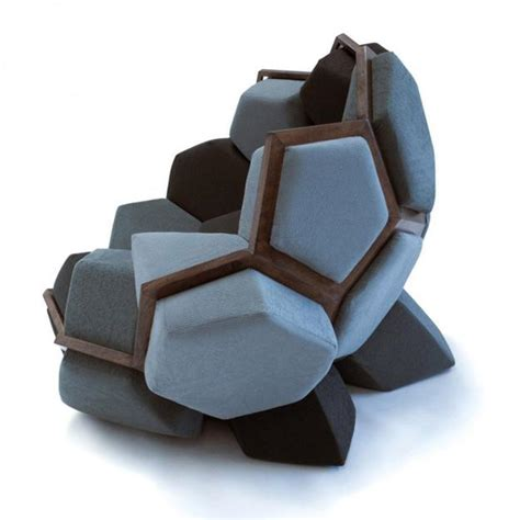 modular furniture cushions in prism shapes creating modern