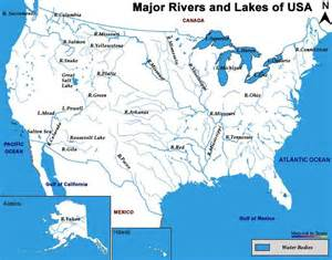 map of the united states with rivers labeled geography maps esl resources