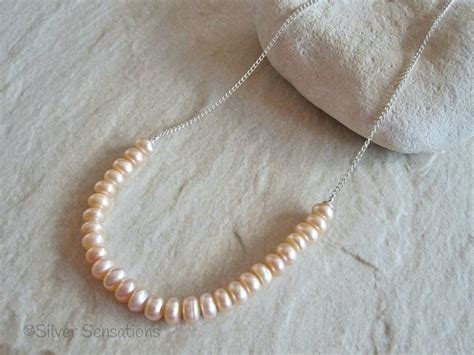 Kalung Pink Pastel Chain Necklace pastel pink cultured freshwater rondelle pearls sterling silver chain necklace silver