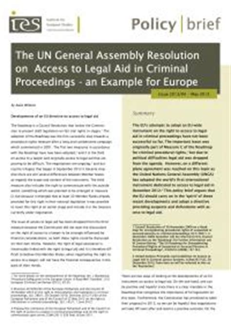 Policy Brief Briefformat The Un General Assembly Resolution On Access To Aid In Criminal Proceedings An Exle