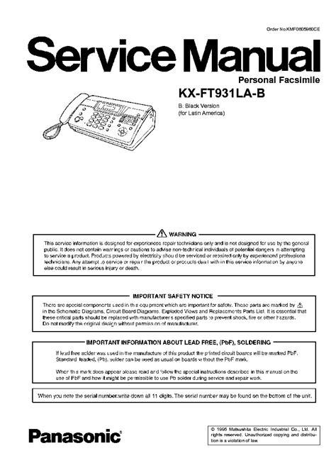 fax panasonic kx-ft931 manuel pdf