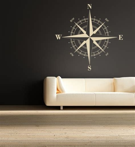modern wall sticker compass vinyl wall decal by empire city studios modern wall decals by etsy