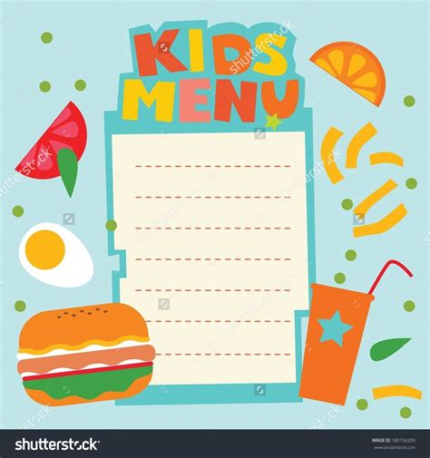 kid card template blank menu template for world of printables